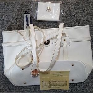 Dooney and Bourke  White Logo Lock Tote  handbag